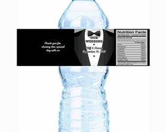 "30 Wedding Tuxedo Personalized Water Bottle Labels - 2 styles - Select the quantity you need below in the ""Pricing & Quantity"" option tab"