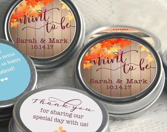Fall Wedding Favors - Mint to Be Rustic Wedding - Fall Bridal Shower - Mint Favor Keepsake -  Thank You Gift - 12 Personalized Mints