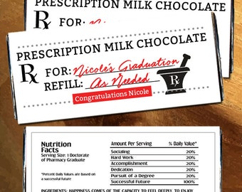 Personalized Prescription Graduation Candy Bar Wrappers for Hershey's Chocolates - Prescription Candy Wrapper (Set of 12)