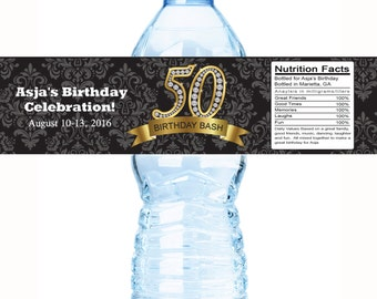50th Diamond Birthday Water Bottle Labels, Editable Bottle Template Download, DIY water bottle templates, Corjl