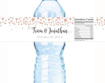 Wedding Water Bottle Labels - 30 Wedding Water Labels - Custom Bottle Labels - Rose Gold Dots Wedding Favors - 30 Waterproof Bottle Labels