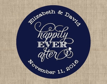 Happily Ever After Stickers, Custom Labels - Round Wedding labels - Bridal Shower stickers - Wedding Candy Stickers - Thank you Stickers