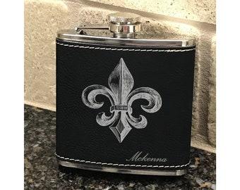 Personalized 6 oz. Fleur-de-lis Leatherette Stainless Steel Flask - Groomsman Flask - Personalized Flask - Black Flask -  Gift Flask