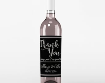 Wedding Wine Label - Custom Wine Label - Personalized Wine Label - Wedding Wine Bottle Label - Black and Sliver - Thank You Wine Labels