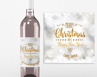 Christmas Wine Bottle Label - 4 Christmas Wine Labels - Christmas Gifts, Hostess Gift, Happy Holidays, Secret Santa Gift, Wine Gift Ideas