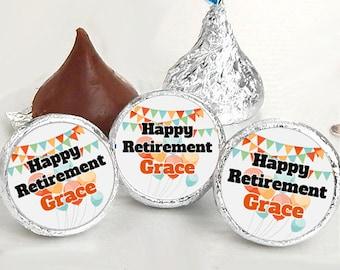 Happy Retirement Kiss® Stickers - Retirement Kiss Stickers - Retirement Candy Labels - Retirement Favors - Retirement Candy Stickers
