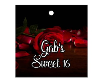 """12 custom tags square 2"""", Red Rose themed, starfish tags, nautical tags, wedding favor tags, candy bag tags, personalized favors, hang tag"""
