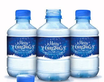 Christmas Water Bottle Labels, 30 Personalized Bottle Labels, Christmas Decor, Christmas Party Decor, Waterproof Water Bottle Labels