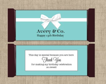Large Hershey Candy Bar Wrappers - Breakfast at Tiffanies  - Breakfast at Tiffanies Decor - Bridal Shower, Wedding Favors (Set of 12)