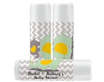 Personalized Lip Balm Labels - Elephant Baby Shower Balm Lip Balm labels - 1 Sheet of 12 Lip Balm Labels - Chevron Lip Balm Labels