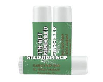 Lip Balm Labels - Personalized Lip Balm Labels - Bridal Shower Lip Balm labels - 1 Sheet of 12 Lip Balm Labels - St Patrick's Day - Shamrock