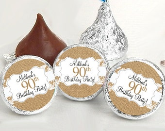 108 Burlap and Lace Hershey Kiss® Stickers - Hershey Kiss Stickers Birthday - Personalized Hershey Kiss Labels - Hershey Kiss Seals