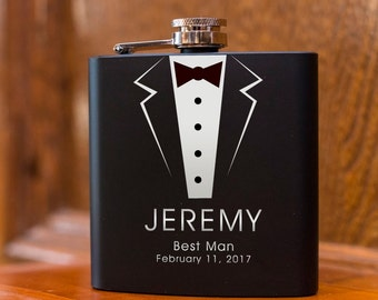 Laser Etched Flask - Tux Flask - In Gift Box - Groomsman Gift Wedding Party Gift - Best Man Gift - Black Flask - Gift Flask - Tuxedo Flask