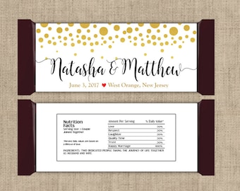 6 Large Personalized Gold Confetti on White Hershey Candy Bar Wrappers - Wedding Candy Bar Wrapper  - Other Colors Available