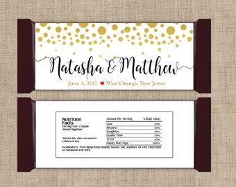 Gold and White Wedding Favors, Candy Bar Wrappers, Fall Favors, Party Favors, Personalized Favors, Wedding Bridal Shower (Set of 12)