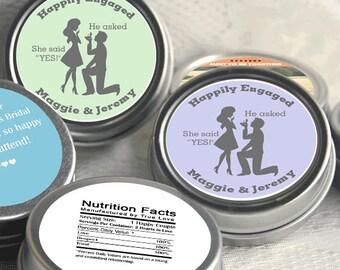 24 Engagement Party Decor -Wedding Favor Mint Tins - Personalized Favors - Engagement Announcements - Engagement Favors - Happily Engaged