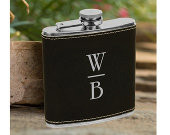 Personalized 6 oz. Initials Leatherette Stainless Steel Flask - Groomsman Flask - Personalized Flask - Black Flask - Flask Gift
