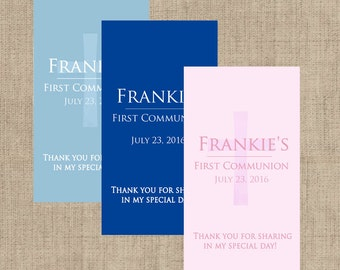 First Holy Communion, Miniature Stickers, Church Stickers, Communion Favors, Hershey Miniatures Labels, Blue, Pink