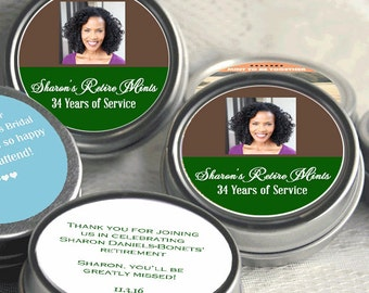 12 Photo Recognition Retirement Mint Tins - RetireMints - Photo - Retirement Favors - Retirement Decor - Retirement Mints - Retired Mints