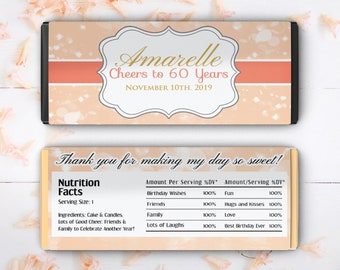 Large Coral Birthday Candy Bar Wrappers - Candy Bar Labels, Candy Bar Stickers, Cheers to 60 Years, Birthday Decor, Party Decor (Set of 12)