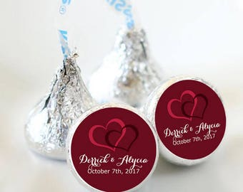 Custom Wedding Double Heart Hershey Kiss® Stickers - Bridal Shower Favors, Wedding Stickers, Labels, Party Favors, You pick the colors