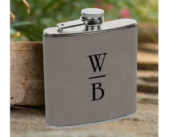Personalized 6 oz. Initials Leatherette Stainless Steel Flask - Groomsman Flask - Personalized Flask - Silver Flask - Flask Gift