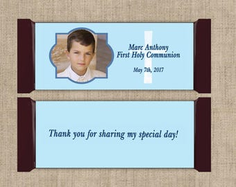 First Communion Chocolate Bar Wrappers - Holy communion candy wrapper, Blue Communion, Boys Communion, First Communion Favor (Set of 12)