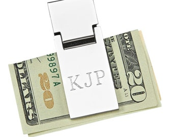 Personalized Silver Money Clip - Groomsman Gifts - Best Man Gift - Gift for Dad - Personalized Money Clip - Spring Loaded Money Clip