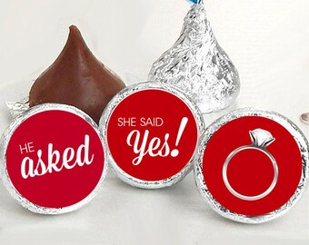 108 Hershey Kiss® Stickers - He Asked She Said Yes Kiss Seals - Candy Labels - Wedding Favors - Hershey® Kiss Seals