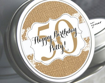Burlap and Lace Birthday Mint Tin Favors, Birthday Candy Favors, 50th Birthday Favors, 40th Birthday Party Favors, Favor Tins, Candy Tins
