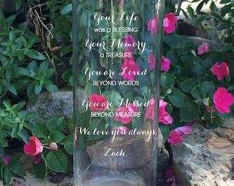 In Loving Memory Memorial Vase - In Loving Memory Vase -Floating Wedding Memorial Candle - Memorial Candle - Engraved Memorial Cylinder