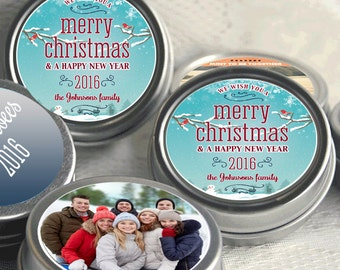 12 Personalized Christmas Mint Tins Favors - Photo  - Christmas Favors - Happy New Year - We Wish You a Merry Christmas - Stocking Stuffers