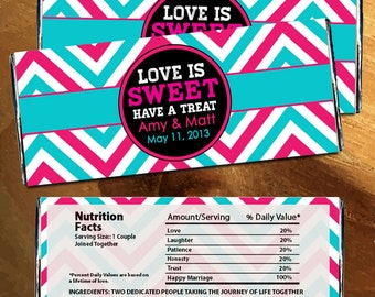 Large Candy Bar Wrapper Love is Sweet Chevron Blue Stripe Bridal Wedding Bridal Shower (Set of 12)