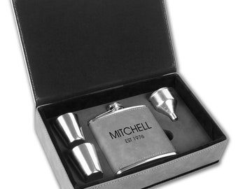 Personalized Gray Hip Flask | Drinking Gift Set | Groomsmen Flask | Best Man Flask | Flask Gift Set | Gift for Him | Gift For Dad