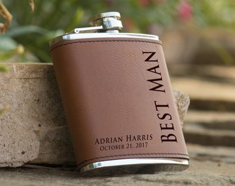 Personalized 6 oz. Leatherette Stainless Steel Flask - Groomsman Flask - Best Man Flask - Personalized Flask - Brown Flask - Flask Gift
