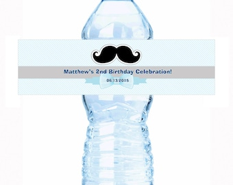 "Mustache and Stripes 30 Personalized Water Bottle Labels - Select the quantity you need below in the ""Pricing & Quantity"" option tab"