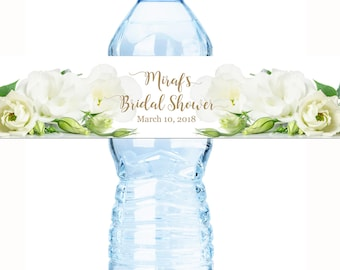 Wedding Water Bottle Labels, 30 Personalized Water Bottle Labels, White Rose Labels, Wedding Welcome Bags, Calligraphy Label, Wedding Favor