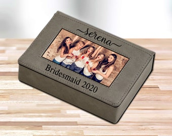 Personalized Keepsake Box with Picture Frame | Custom Laser Engraved Leather Picture Frame and Keepsake Box | Unique Photo Frame