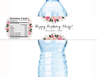 Birthday Water Bottle Labels - Floral Bridal Shower Water Bottle Labels - Floral Custom Labels - Country Chic Bottle Labels - Birthday Decor