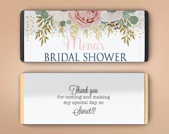 Large Personalized Candy Bar Wrappers - Bridal Shower Favor - Digital Download - Birthday Favor - Pink Rose Design