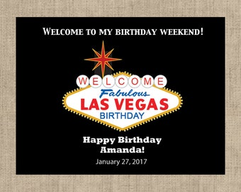 "4"" x 3""  Personalized Welcome Box Labels -  30 Birthday Welcome Bag Labels - Welcome Stickers - Box Stickers - Birthday in Las Vegas"
