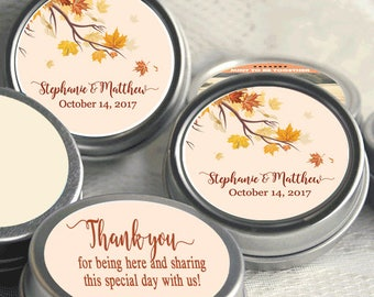 100 Personalized Fall Mint Tins -  Autumn -  Rustic Wedding - Fall Bridal Shower - Mint Favor Keepsake -  Thank You Gift - Fall in Love