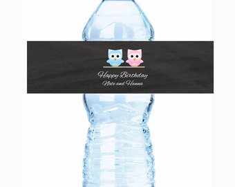 Look Who's Talking Birthday Water Bottle Labels - Baby Shower Decor - Baby Shower Labels - Baby Shower Stickers - Baby Shower - Owls