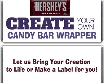Custom Designed, Large Candy Bar Wrapper, Birthday, Wedding, Bridal Shower, Create your own, fits 1.55 oz (Set of 12)