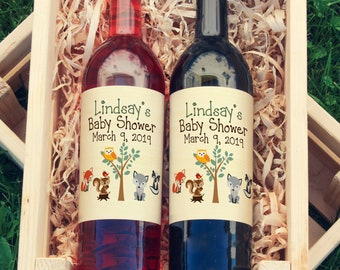 Woodland Baby Shower Wine Labels - Thank You Baby Shower Wine Labels  - Woodland Baby Wine Bottle Labels - Custom Labels - Color Coordinated