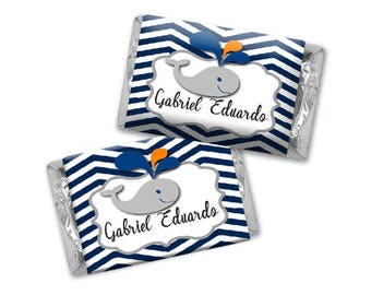 Personalized Chocolate Wrappers -  Baby Shower Whale Hershey Stickers - Personalized Nugget Wrappers, Miniature Chocolate Wrappers