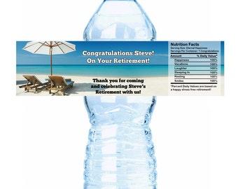 Personalized Retirement Beach Theme Water Bottle Labels - 30 Retirement Water Labels - Retirement Bottle Labels - Retirement Party ideas