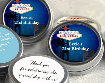 24 Las Vegas Birthday Mint Tins - Las Vegas Birthday Favors - Las Vegas Birthday Ideas - Las Vegas Birthday Decor - Las Vegas Birthday Gifts