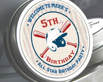 Personalized Birthday Favors - Baseball Favors - Baseball Mints - Personalized All Stars Birthday - Sports Favors - Birthday Favors