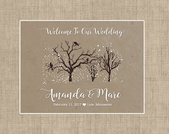 """4"""" x 3""""  Personalized Welcome Box Labels -  30 Wedding Welcome Bag Labels - Wedding Favor Labels - Welcome Stickers - Box Stickers - Copper"""